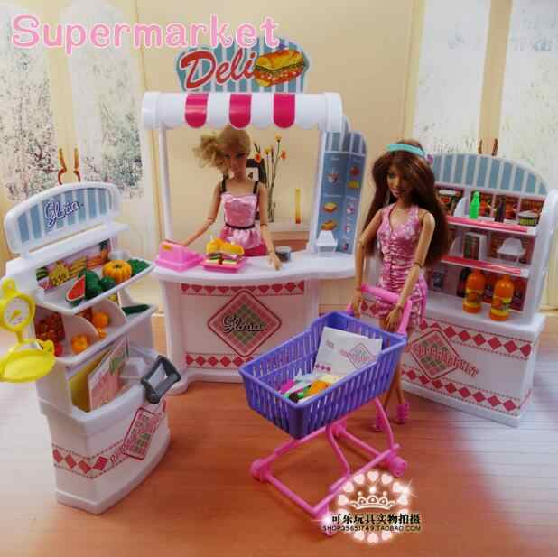 for supermarket barbie House Combination Supermarket Furniture Set Shelves + Checkout Counter + Shopping Cart Accessories