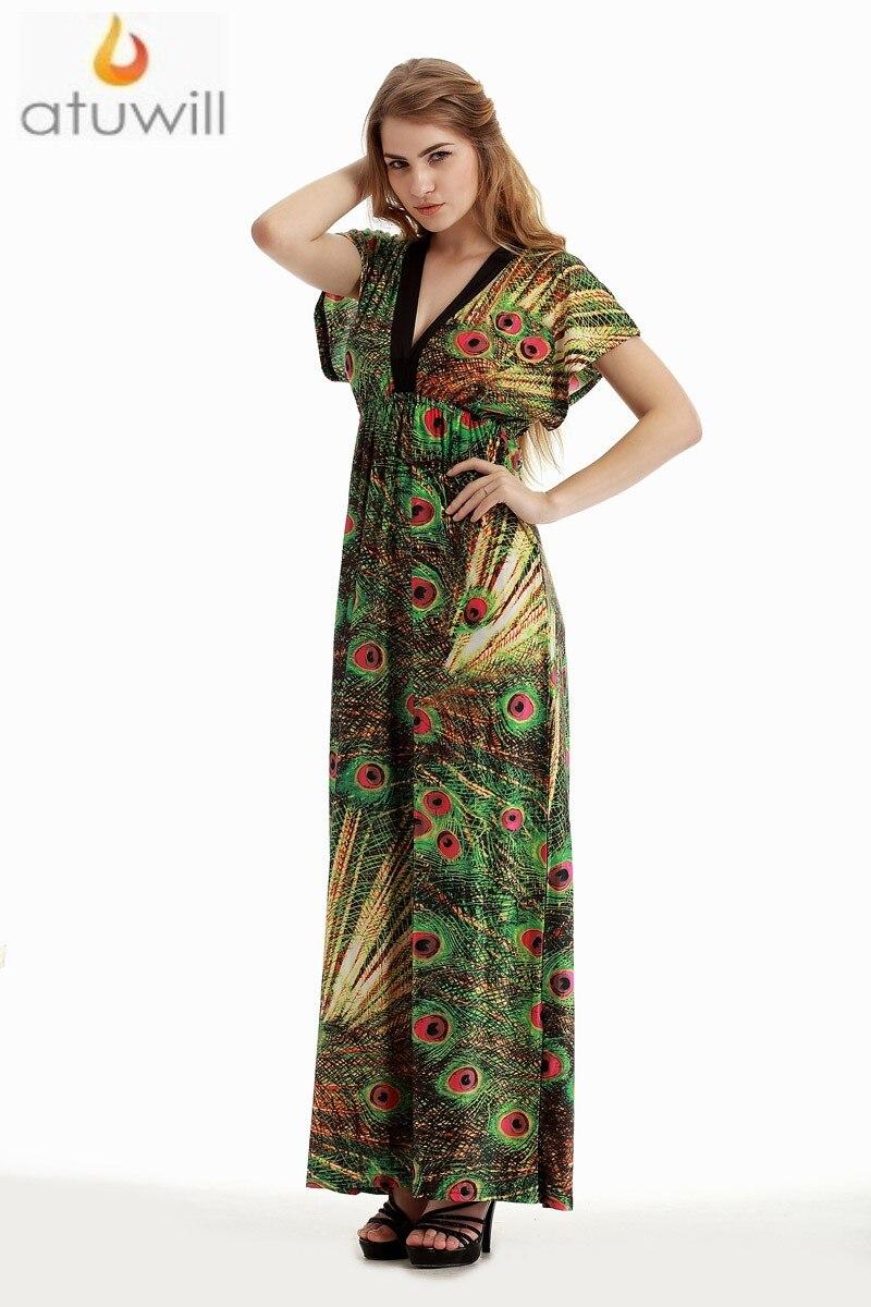Atuwill M 6XL Plus Size Women's Bohemian Green Peacock Printed Maxi Dress Summer Spring Beach Dresses