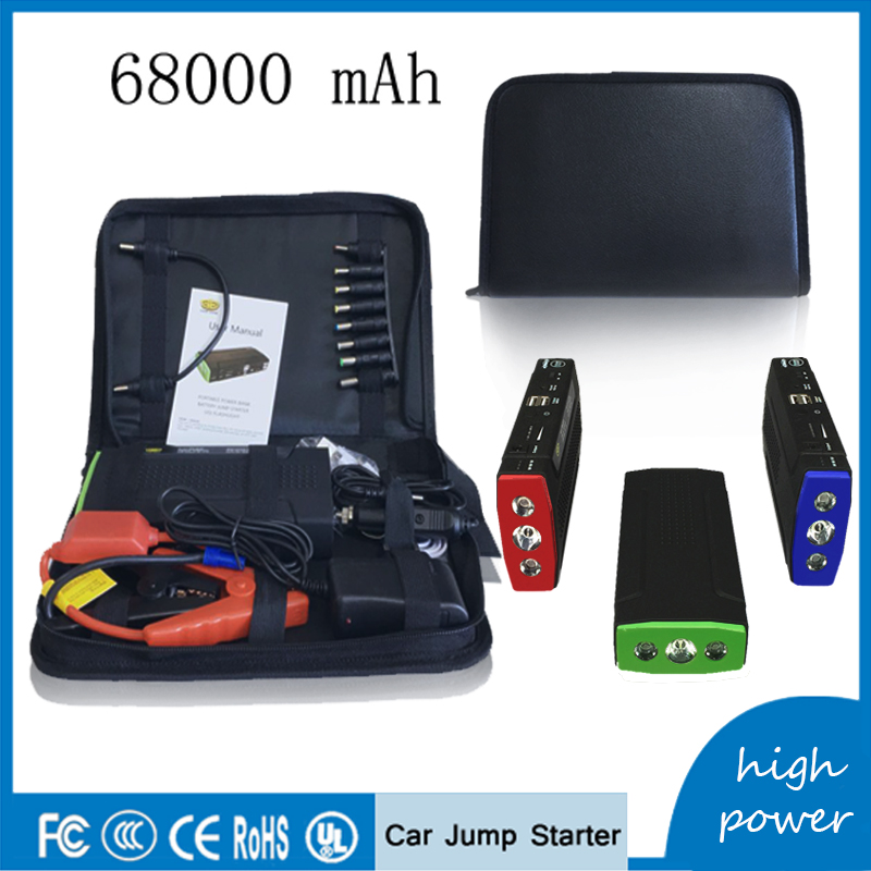 New 68000mAh Car Jump Starter 12V Portable SOS Power Bank Pack Car Charger Battery Booster Buster Starting Device Diesel 2017 30000mah 12vportable car jump booster led charger emergency start power bank new