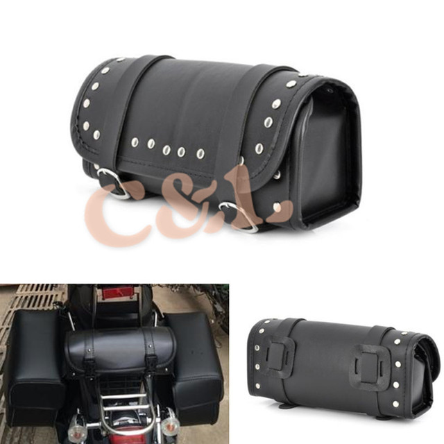 Cool Motorcycle Atv Scooter Pu Leather Saddle Bag Roll Handlebar Storage Tool