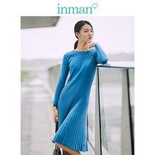 Inman primavera outono algodão o pescoço moda coreana fino todos combinados manga longa a linha vestido feminino