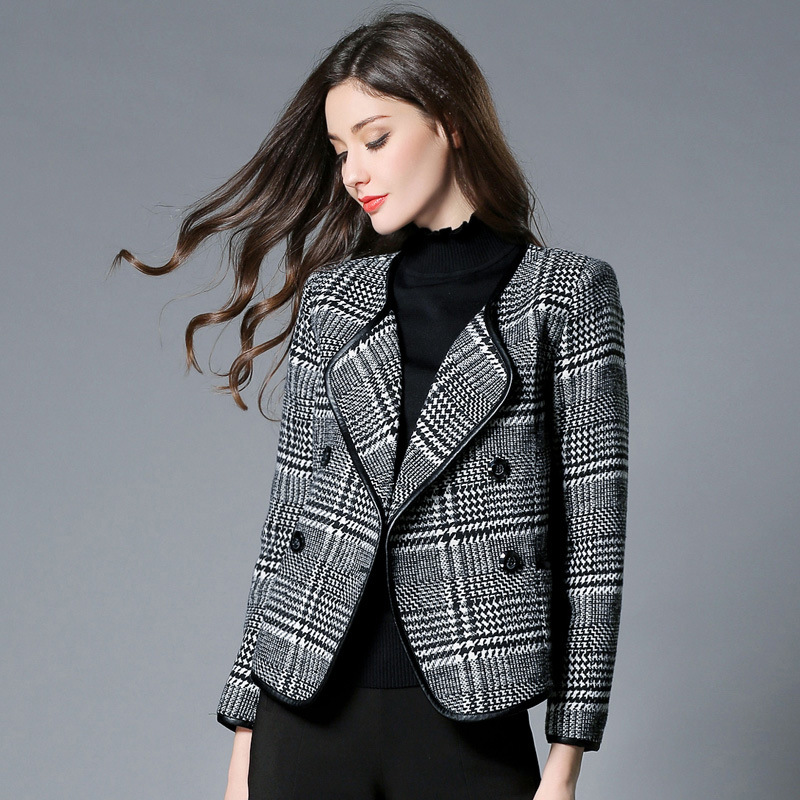 Autumn and winter European version of the collar free fashion loose jacket black and white plaid
