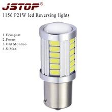 JSTOP P21W led car Lights with lens 6000K lamp P21W Reversing Lamp 5730smd 12VAC External Lights led 1156 BA15S Reversing lamps