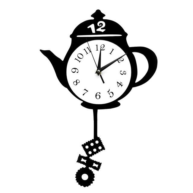 € 17.94 |Relojes de cocina creativos tetera péndulo Reloj de pared  colgantes Relojes de pared de diseño moderno tetera con bolsa de té galleta  en ...