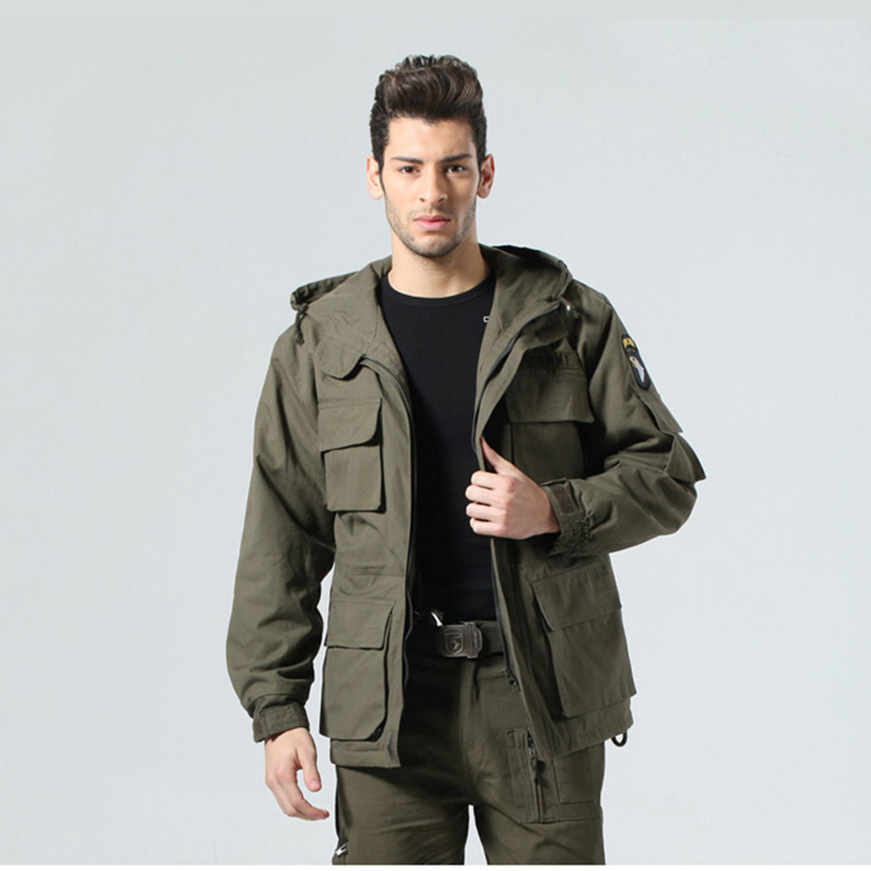 US ARMY Tactical Military Winter Coat Men Outdoor Thermal Cotton AIRBORNE Jacket for Sports Airsoft Hunting Shooting EDC Clothes men military tactical outdoor shirts 100% cotton breathable long sleeve shirt army multi pockets swat shooting urban sports