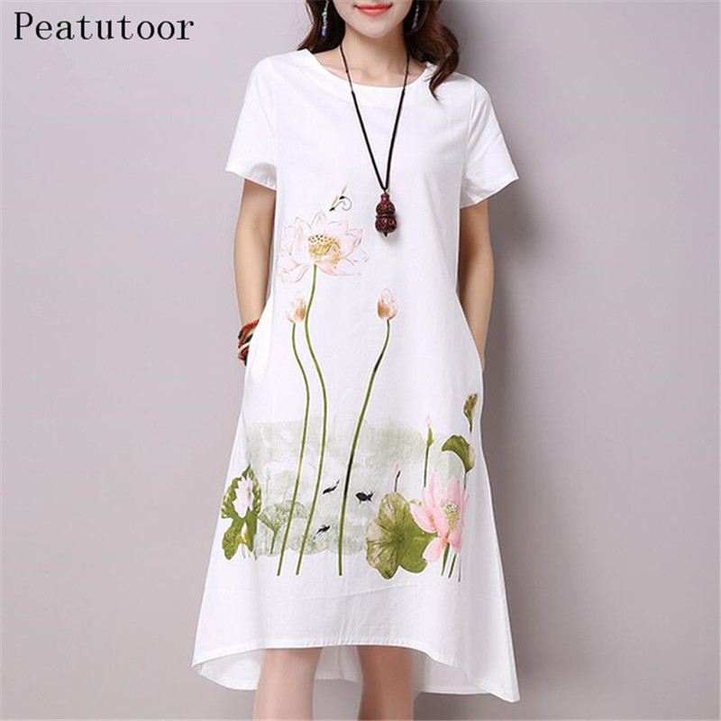 2018 Summer Dress Plus Size Short Sleeve White Women Dress Casual Cotton Linen Dress Lotus Printing O-Neck Vestidos de Festa XXL