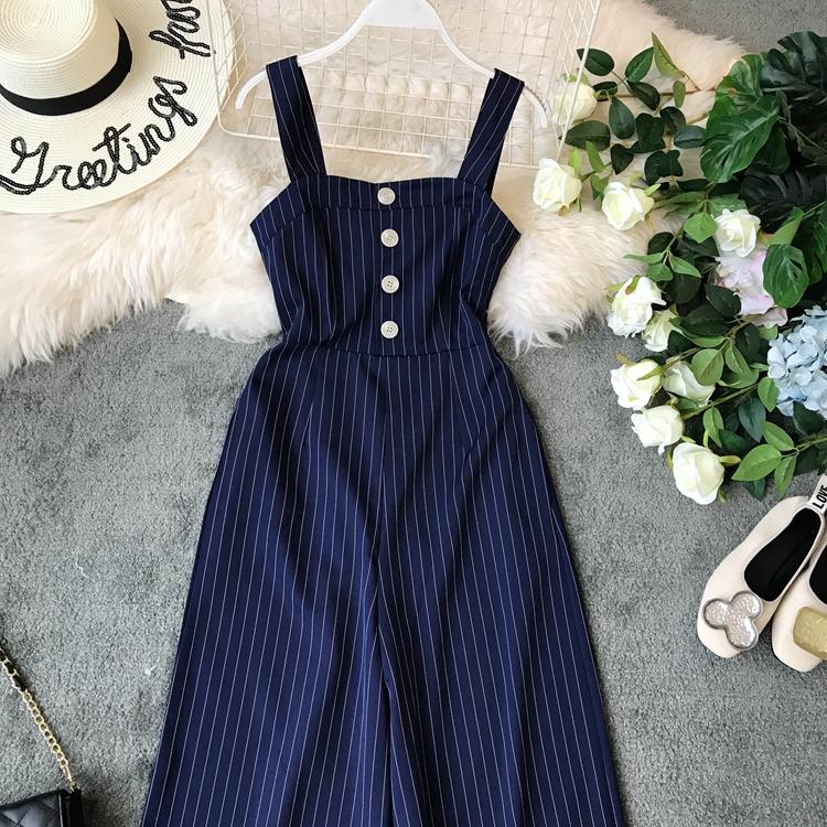 2019 Spring and Summer Korean New Stripe High Waist Open-back Jumpsuit Women Sleeveless Broad-legged Overalls G794 36