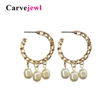 Carvejewl Drop dangle earrings Metal circle simulated pearl earrings for women jewelry new Plastic post anti allergy earrings metal artificial pearl circle drop earrings