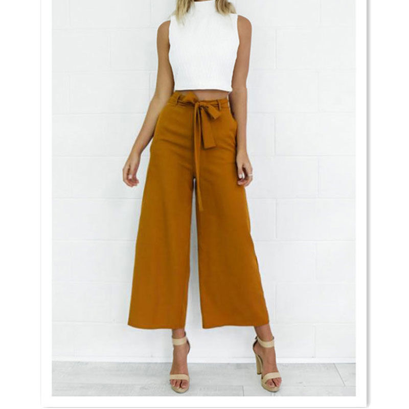 2017 Spring Summer Fashion High Waist Wide Leg Pants Female Plus Size Loose Casual Ankle-length Pants Trouser For Women