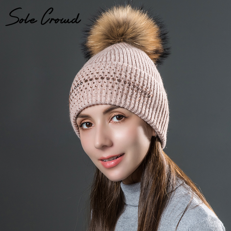 Sole Crowd women skullies beanies knitted wool rhinestone caps autumn winter warm hats natural fur pom pom fashion female hat skullies