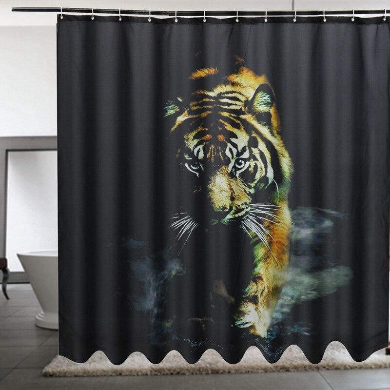 1 шт. 180x180 см тигр pringting полиэстер Душ Шторы Водонепроницаемый mildewproof Артистизм Крючки для ванной для бытовой аксессуар