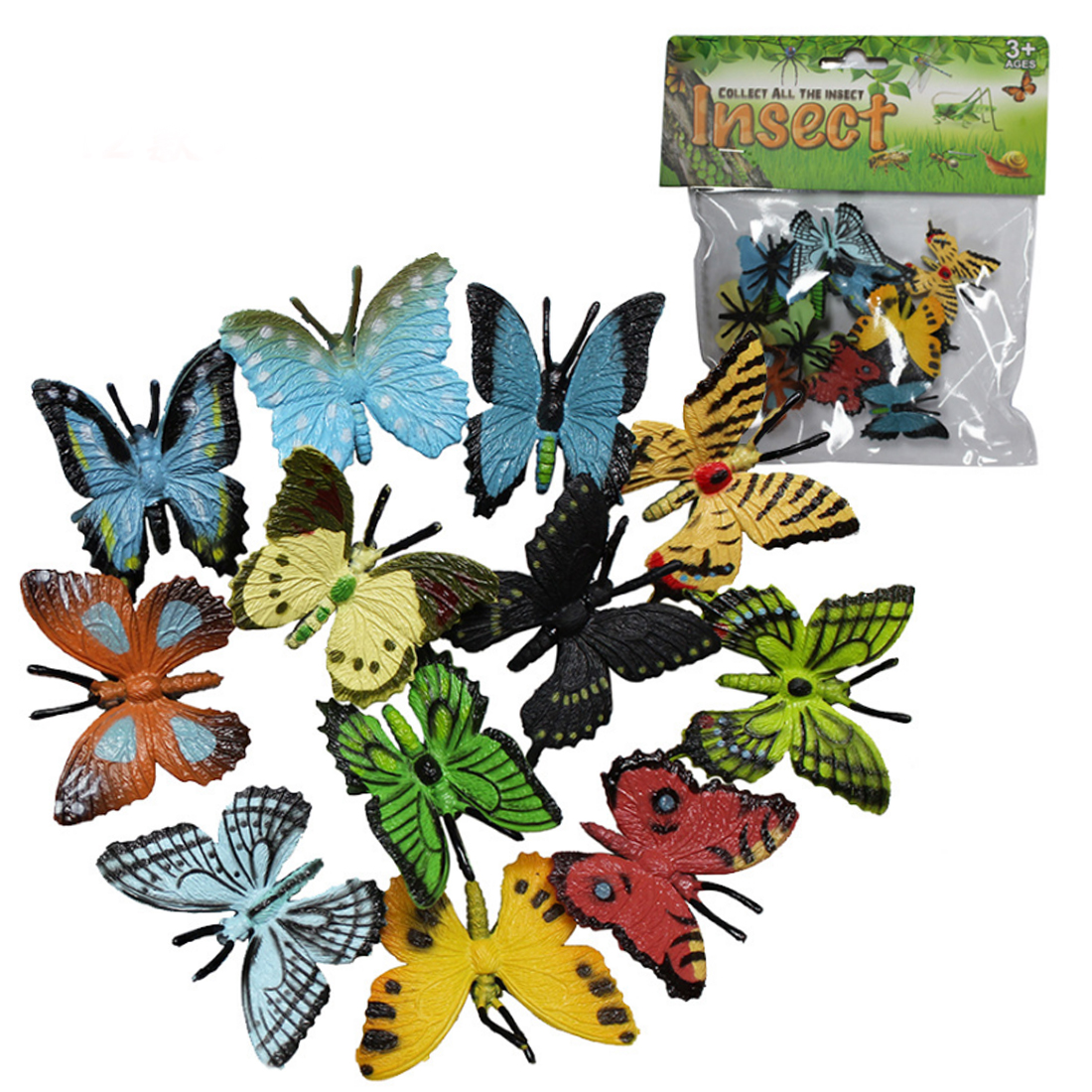 12Pcs Party Class Teaching Butterfly Model Kit Educational Toys For Children Learning Studying Biology Insects Toy Collection