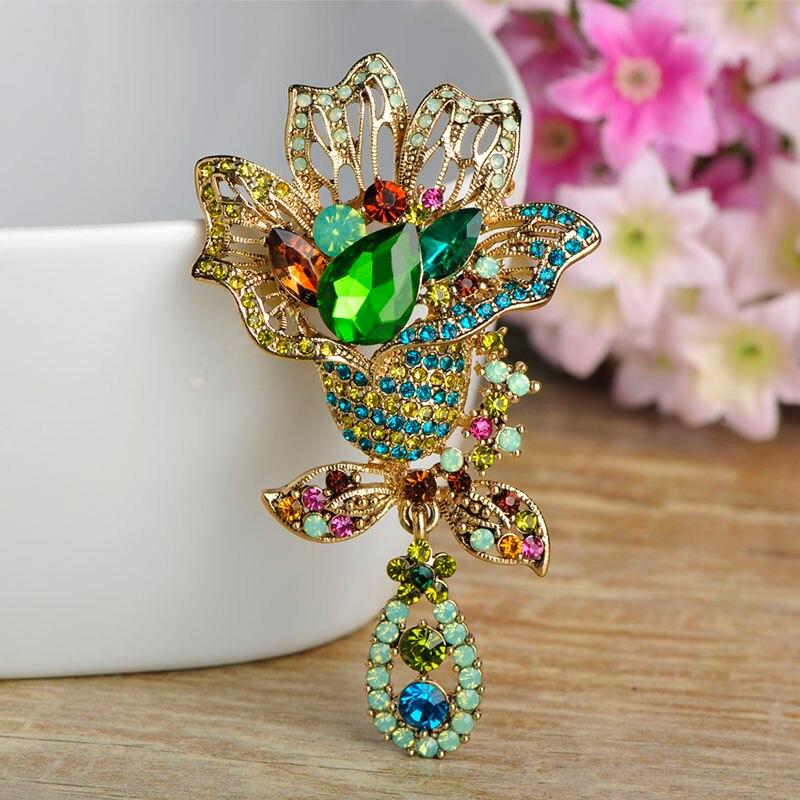 Charms Rouge Cristal oiseau émail broches plaqué or Rétro Broche Pin Lady cadeau