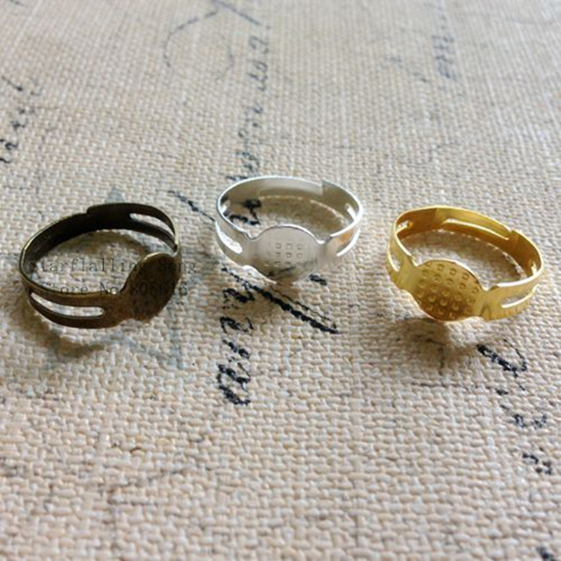 Free Shipping 8MM/w 80Pcs Jewellery Ring Settings DIY Jewelry Findings & Accessories