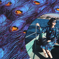 Vintage Fashion Blue Peacock Feather 100 Cotton Print Satin Fabric Material Textile For Sew Patchwork Clothes