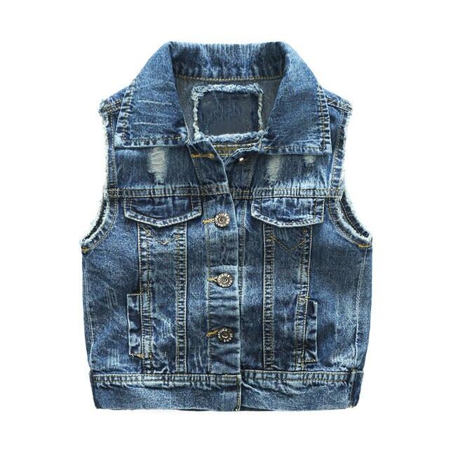 Waistcoat 2 Spring New Jacket Autumn Children Denim For 7t Vest Outerwear Boy Clothes Jeans Hole Kids Style Broken Bebe gvfY76by