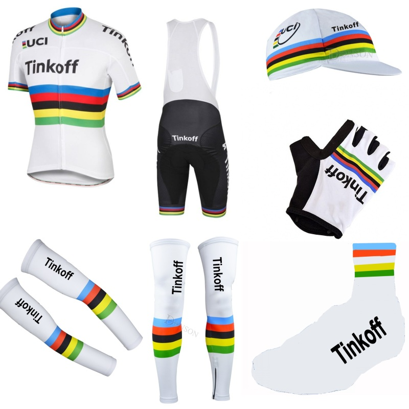Pro team tinkoff champion 7PCS full set cycling jersey Short sleeve quickdry bike clothing MTB Ropa Ciclismo Bicycle maillot GEL spring autumn 2017 pro team ag2r cycling jerseys long sleeve bike clothing mtb ropa ciclismo bicycle maillot jersey gel pad