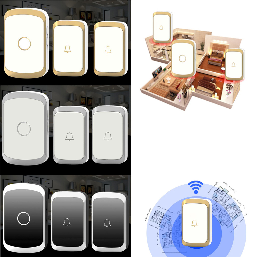 300m / 1000ft Range Waterproof Wireless Doorbell Chime Cordless Door Bell Twin 36 Chime - 1 UK Plug-in Receiver + 2 Transmitter ks v2 welcom chime bell sensor