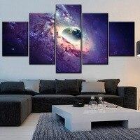 Домашний настенный деоривный современный уникальный художественный набор 5 панель космическое изображение галактики холст печать HD карти...
