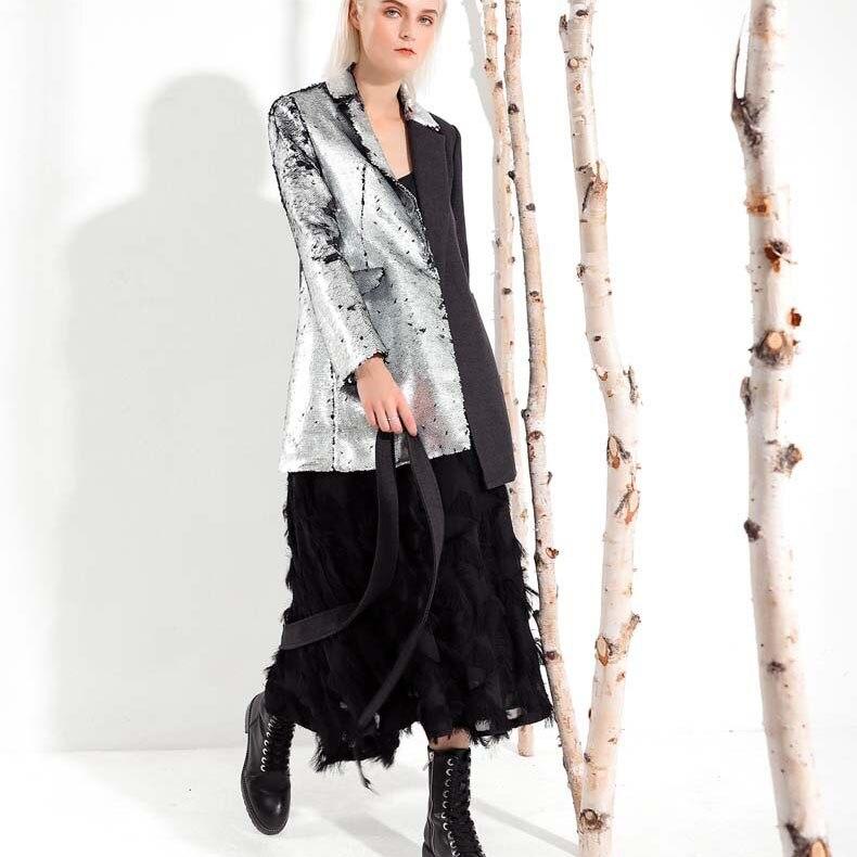 down Long Femmes Vêtements Couleurs Collar 2019 Blazer Contraste Printemps Hiver Sequin Turn Pleine Manches Mode Argent wx8AqTIA1