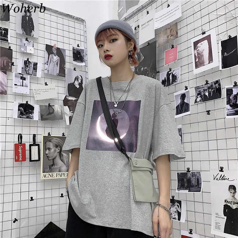 Woherb 2019 Harajuku уличная футболка Женская Плюс Размер винтажные Топы Футболки с