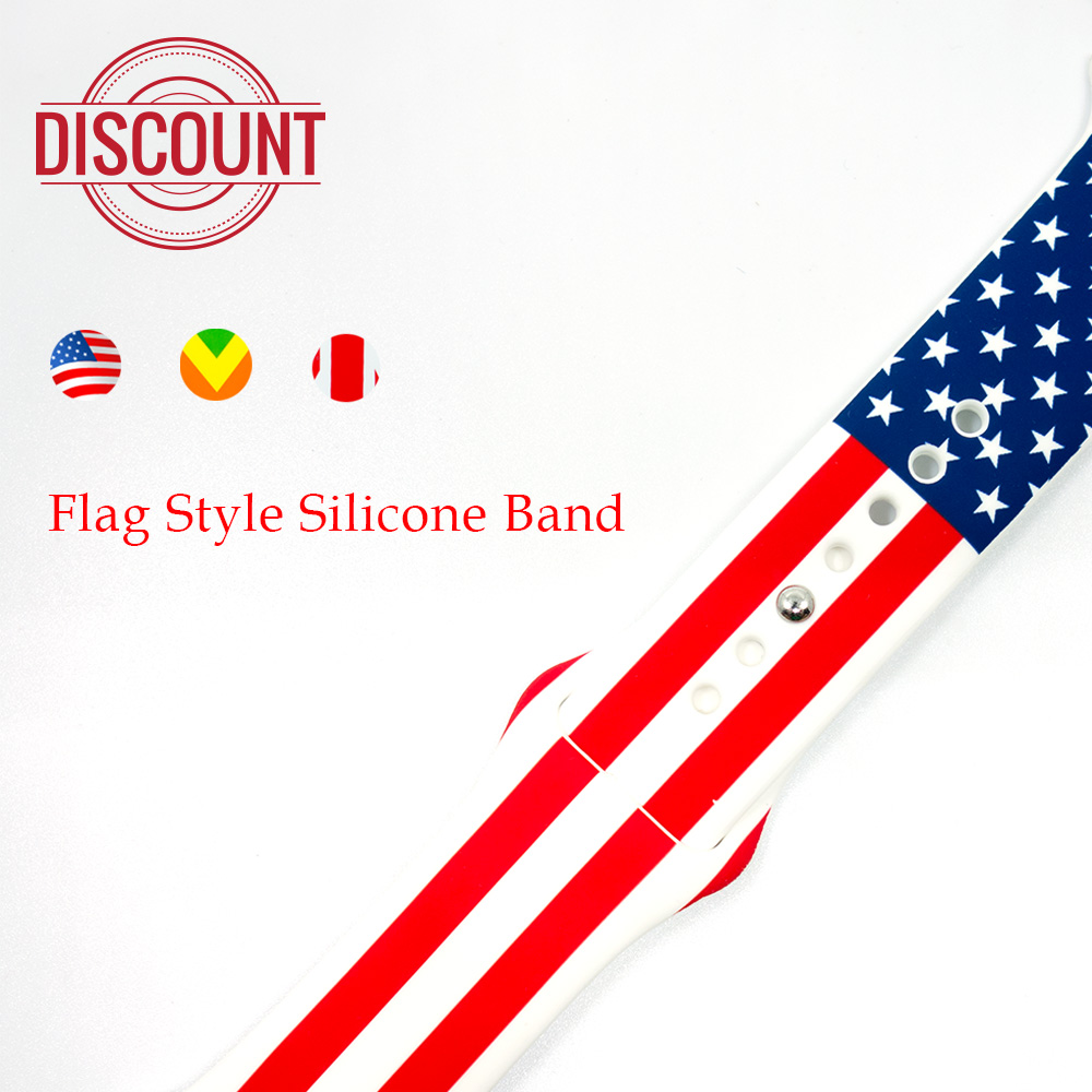Silicone Sport Band For Apple Watch 42mm 38mm 3 2 1 Strap Bracelet For iWatch Wrist Rubber National Flag Watchband Metal buckle цена