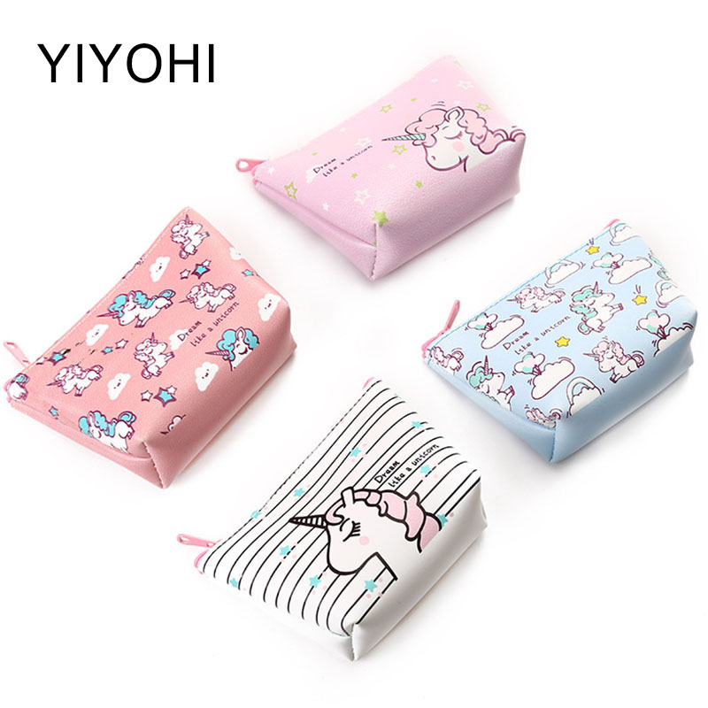 цена на 4 Colors Unicorn Students Coin Purse Children PU Leather Zipper Change Purse Women Mini Wallet Animals Key Card Bag Kids Gift