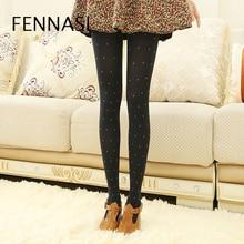 FENNASI 120D Printed Women's Tights Large Size Polka Dot Tights Slim Thin High Waist Sexy Woman Pantyhose Ladies Black Tights
