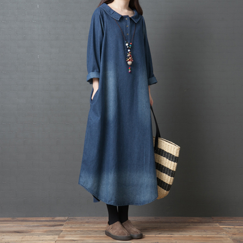 2019 Solid color Plus Size Denim Dress Women Long Sleeve Vintage Spring Dress Vestidos O neck T Shirt Jeans Dress aa937