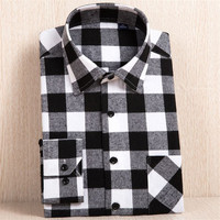 Lacontrie 2017 Spring Autumn Casual Men Flannel Plaid Shirt 100 Cotton Long Sleeve Shirt Soft Comfort