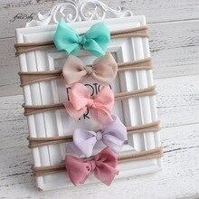 Шикарный нейлон эластичный Цветочный венок ободок для детей шифон Лук цветок оголовье