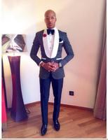 New Classic Design Navy Blue Dot Men Dinner Prom Suits Groom Tuxedos Wedding Suits (Jacket+Pants+Tie+Hankerchief) NO:223