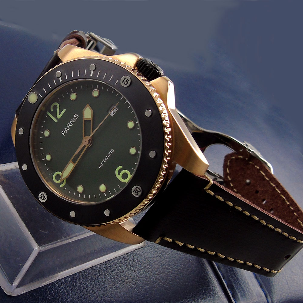 43mm parnis Green Dial Rose Golden Plated Case Luminous Marks Deployment Sapphire Glass miyota Automatic Movement mens Watch
