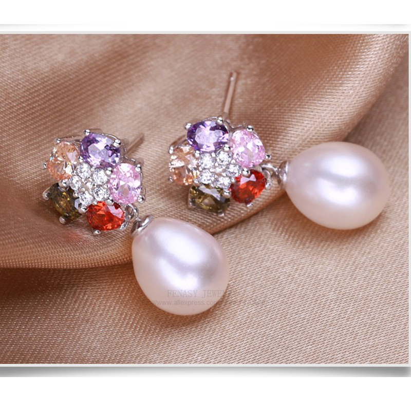 FENASY Genuine Natural Pearl Ohrringe 925 Sterling Silber Mode Blume - Edlen Schmuck - Foto 2