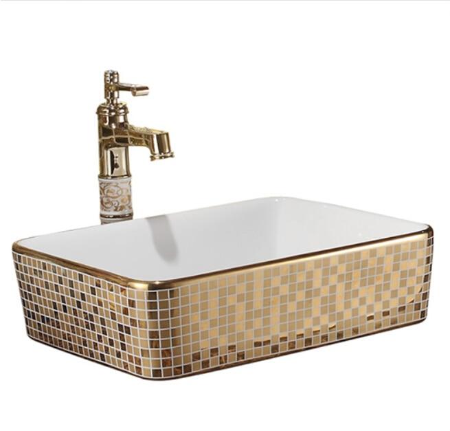 Rectangulaire salle de bains Lavabo comptoir en céramique Lavabo vestiaire mosaïque titane porcelaine navire évier JY003