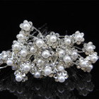 100pcs/lot Crystal Pearls Hairpins Barrettes Bridal Flower Hair Clip for girls women Wedding Rhinestone Hair Jewelry Accessories