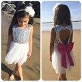 Bebé Girls Summer Dress Niños Ropa Lentejuelas Formal Amor Sin Respaldo Arco Vestido Princesa Vestidos de Partido de Las Muchachas Del Vestido Del Tutú Vestidos