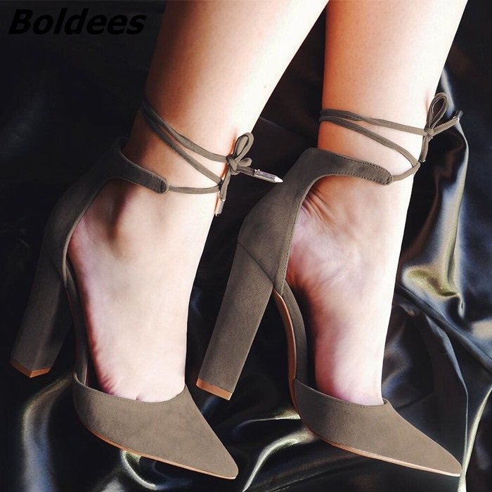 Elegant Women Dark Blue Suede Chinky Heels Stylish Pointed Toe Lace Up Chunky Heel Pumps Classy Women Unique Design Shoes elegant women s pumps with suede and slingback design