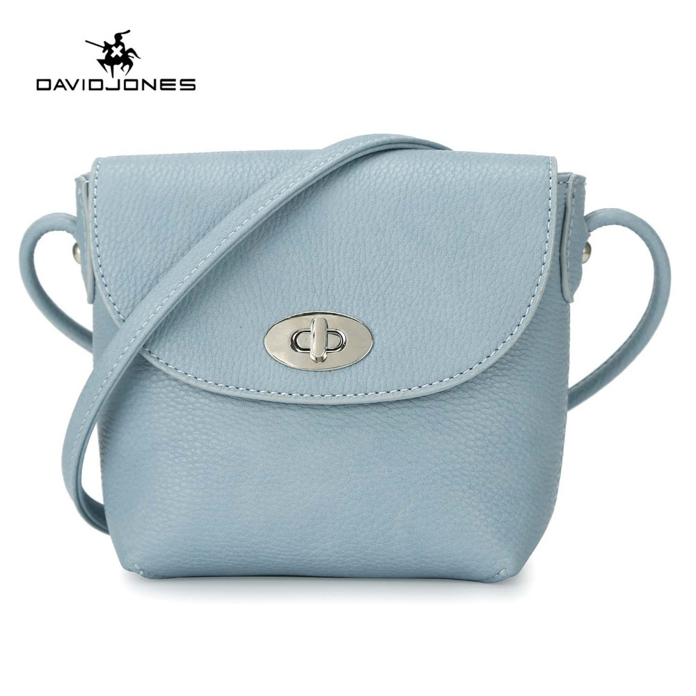 DAVIDJONES women messenger bags pu leather female handbag small lady solid messenger bag girl brand crossbody bag drop shipping handbag