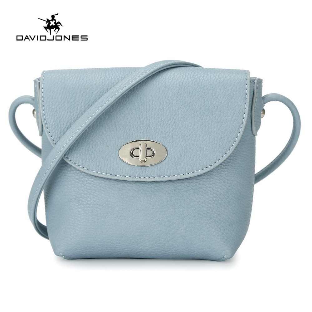 c440d8b7c2ac DAVIDJONES женские сумки через плечо искусственная кожа женская сумочка  маленькая леди Твердые сумка для девочек бренд