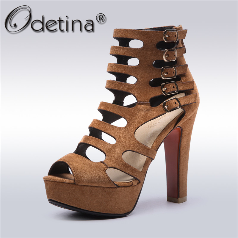 Odetina 2018 New Fashion Peep Toe Ankle Buckle Strap Sandals Extreme Supper High Heels Platform Summer Shoes Sexy Big Size 32-43 memunia 2017 fashion new arrive women high heels sandals classic peep toe buckle summer shoes solid street style big size 34 43