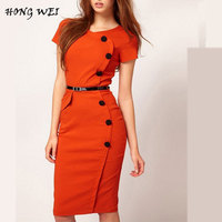 9 Colors Fashion Ladies American Style Front Button Bodycon Midi Office Dress Summer Workwear For Women