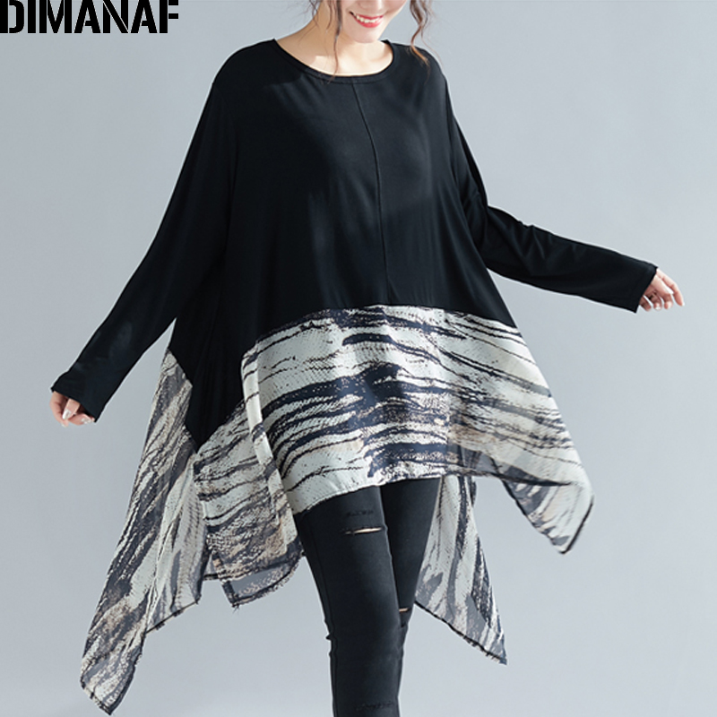 DIMANAF Plus Size Women Blouse Lady Tops Shirts Summer Female Clothes Batwing Print Spliced Loose Casual Tunic Big Sizes 5XL 6XL