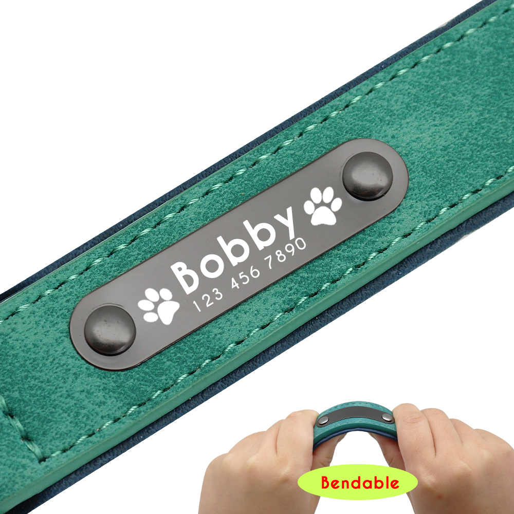 Green leash and collar leather custom personalized set for small, medium and large dogs
