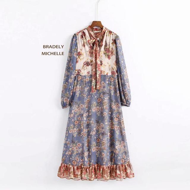 BRADELY MICHELLE 2018 Summer Women's Vestido Dress Vintage Three Quarter Sleeve Ruffles Mid-Calf Dress Female