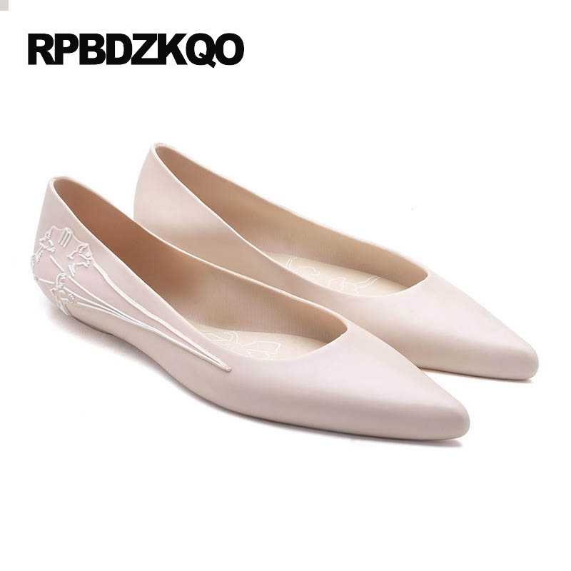 ... Flower Cheap Shoes China Navy Blue Pointed Toe Floral Flats Mori Girl  Beautiful Jelly Women Pink ... 4b9922d9ef39