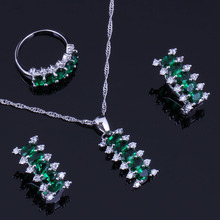 Delicate Green Cubic Zirconia White CZ 925 Sterling Silver Jewelry Sets For Women Earrings Pendant Chain Ring V0303 pair of delicate silver stick chain earrings for women