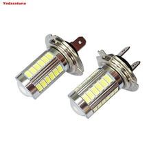 2Pcs H7 33SMD LED luz 5630 chip luces antiniebla Faro Delantero Conduccion DRL coche luz lampara bombilla
