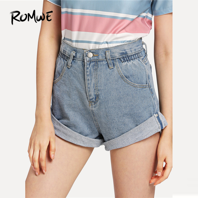 ROMWE Roll-Up Hem Denim Shorts Swish Women Blue Pockets Button Fly Jean Shorts 2019 Fashion Mid Waist Loose Summer Shorts