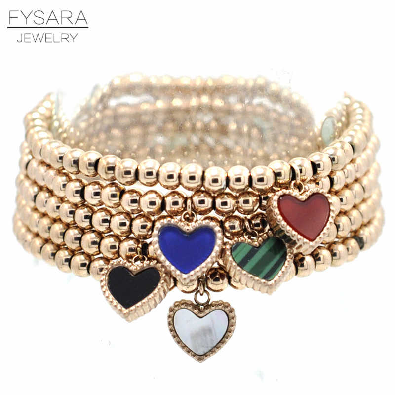 FYSARA Double Side Color Heart Charm Stretch Strand Bracelets Bangles Women Jewelry Stainless Steel Ball Beaded Bracelets Lover